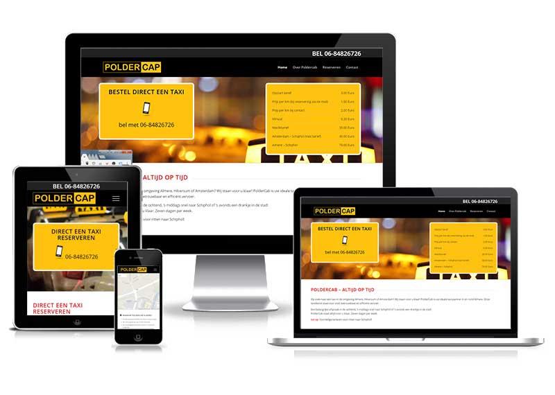 Poldercap Taxi verhuur - responsive website
