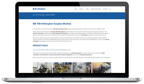 Website maken WordPress - BM Aviation BO105 surplus market