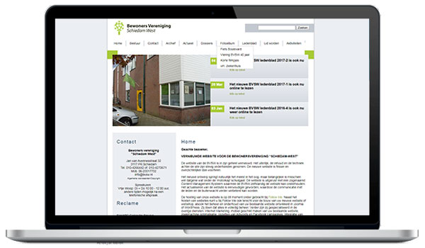Website maken WordPress - Bewoners vereniging Schiedam West bvsw