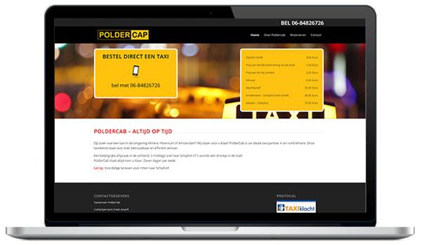 Website maken WordPress - Een taxi bestellen doe je bij Poldercap als je een nodig hebt - Regio Almere, Amsterdam en Schiphol